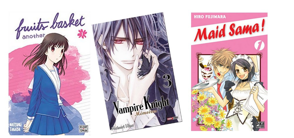 Manga shojo - illustration Fruit basket, Vampire Knight, Mad Sama