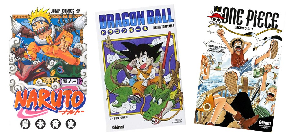 Manga Shonen  - illustration Naruto, Dragon Ball, One Piece